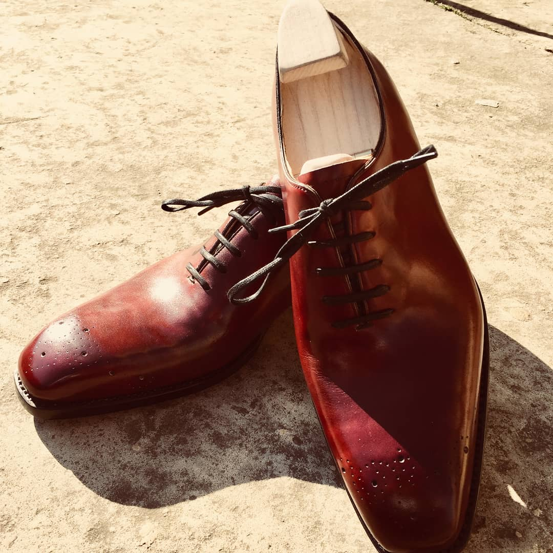 burgundy shoes in museum calf leather